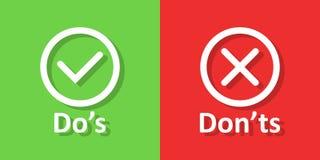 Do e don 'ts assina o ícone no estilo liso Como, ilustração desigual do vetor no fundo isolado branco Sim, nenhum conceito do neg ilustração do vetor