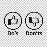 Do e don 'ts assina o ícone no estilo transparente Como, ilustração desigual do vetor no fundo isolado Sim, nenhum concep do negó ilustração royalty free