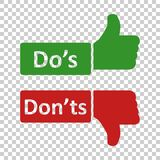 Do e don ?ts assina o ?cone no estilo transparente Como, ilustra??o desigual do vetor no fundo isolado Sim, nenhum concep do neg? ilustração do vetor