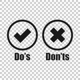 Do e don ?ts assina o ?cone no estilo transparente Como, ilustra??o desigual do vetor no fundo isolado Sim, nenhum concep do neg? ilustração stock