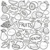 Do esboço tradicional dos ícones da garatuja do alimento dos vegetais de frutos vetor feito à mão do projeto ilustração royalty free
