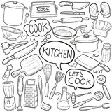 Do esboço tradicional dos ícones da garatuja da cozinha vetor feito à mão do projeto ilustração do vetor