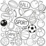 Do esboço tradicional dos ícones da garatuja do esporte vetor feito à mão do projeto ilustração do vetor