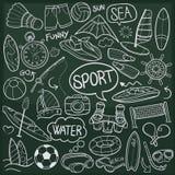 Do esboço tradicional dos ícones da garatuja dos esportes do mar da água vetor feito à mão do projeto ilustração do vetor