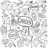Do esboço tradicional dos ícones da garatuja do jardim vetor feito à mão do projeto ilustração do vetor