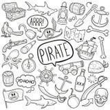 Do esboço tradicional dos ícones da garatuja do pirata vetor feito à mão do projeto Fotografia de Stock