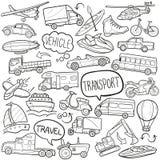 Do esboço tradicional dos ícones da garatuja do transporte do veículo vetor feito à mão do projeto ilustração do vetor