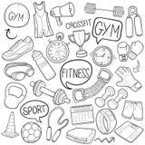 Do esboço tradicional saudável dos ícones da garatuja do equipamento do esporte do Gym vetor feito à mão do projeto ilustração stock