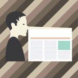 Do espaço vazio da cópia do conceito do negócio do projeto homem abstrato moderno do fundo com um nariz muito longo como Pinocchi ilustração stock