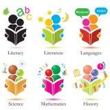 Do estudo ícones junto ajustados Imagens de Stock Royalty Free
