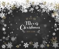 ` Do Feliz Natal do ` com lotes dos flocos de neve no fundo cinzento Fotos de Stock Royalty Free