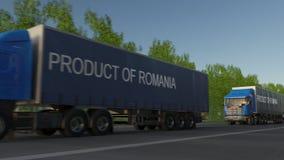 Do frete caminhões moventes semi com o PRODUTO do subtítulo de ROMÊNIA no reboque Transporte da carga da estrada rendição 3d ilustração royalty free