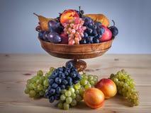 Do fruto vida outonal ainda no fundo de madeira rústico da tabela Fotografia de Stock