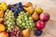Do fruto vida outonal ainda no fundo de madeira rústico da tabela Imagens de Stock
