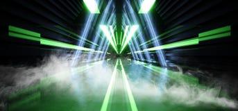 Do fulgor de n?on futuro do sum?rio do fumo da nave espacial estrangeira futurista moderna da fase do laser de Sci Fi t?nel escur ilustração stock