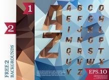 Do fundo poligonal do alfabeto de Crystal Font teste padrão geométrico de Imagem de Stock