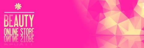 Do fundo projeto poli cor-de-rosa baixo - texto amarelo do ouro: Beleza Onlin Imagens de Stock