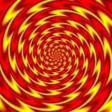 Do fundo vermelho espiral redondo psicadélico e amarelo impetuosamente coloridos ilustração stock