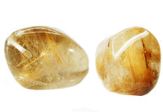 Do geode ctystal de quartzo da rocha de Rutilated cristais geological Fotos de Stock