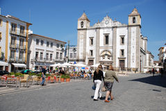 Do Giraldo square in Evora, Portugal. Stock Photos