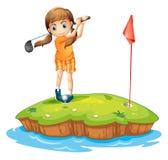 do golfa gra młodych kobiet ilustracja wektor