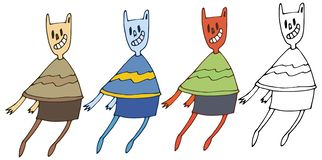 Do grupo humano da tração da mão do monstro da garatuja da cor dos desenhos animados da cópia engraçado feliz ilustração do vetor