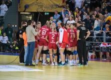Do handball dos jogadores do tempo momento para fora Imagem de Stock Royalty Free