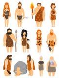 Do homem das cavernas primitivo do neanderthal do protoman do vetor do jogo de caracteres dos povos dos desenhos animados ilustra ilustração royalty free