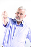 Do homem superior do retrato do polegar falha para baixo Imagens de Stock
