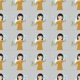 Do housewifery sem emenda bonito do fundo do teste padrão da menina dos desenhos animados da limpeza da mulher do homemaker de Ho Imagem de Stock