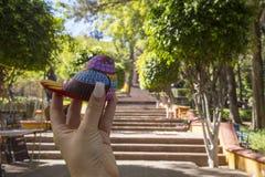 do imperador Maximilian Memorial Chapel situado no monte de Bels (Cerro de Las Campanas) em Santiago de Querétaro, México foto de stock royalty free