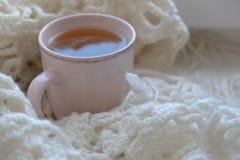 Do inverno vida acolhedor ainda: livro aberto Conceito morno e confortável do outono ou do inverno Fotografia de Stock Royalty Free