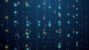 Do laço digital do fundo do movimento da grade do número de código da tecnologia abstrata realidade virtual de flutuação ilustração do vetor