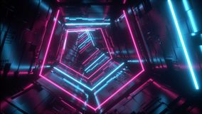 Do laço estrangeiro roxo futurista do corredor do túnel da nave espacial da tecnologia do azul de Sci Fi das luzes mosca vibrante filme