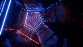 Do laço estrangeiro roxo futurista do corredor do túnel da nave espacial da tecnologia do azul de Sci Fi das luzes mosca vibrante video estoque