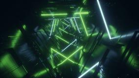 Do laço estrangeiro verde futurista do corredor do túnel da nave espacial da tecnologia do azul do fi do sci das luzes a micropla vídeos de arquivo