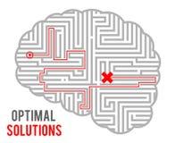 Do labirinto abstrato ótimo do labirinto das soluções da tomada de decisão do intricado do cérebro projeto geométrico monocromáti ilustração do vetor