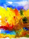 Do lago vermelho da floresta da paisagem do outono do amarelo do verde azul do fundo do sumário da arte da aquarela colorido exte ilustração do vetor