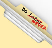 Do Later Never File Future Procrastinate Put Off Forever royalty free illustration