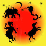 Do leste, serpente, asno, estrelas, lua, elefante, homem, sultão Imagens de Stock Royalty Free