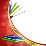 Do Livro Verde abstrato da escola do fundo o grampo azul do lápis da pena da régua do caderno circunda a ilustração vermelha do q Foto de Stock