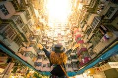 Do lugar famoso residencial do curso da densidade de Hong Kong construção gorda de Yick imagem de stock