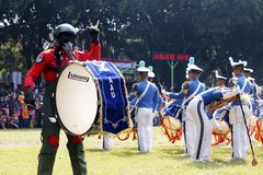Do marching band by Indonesian Air Force cadets. Stock Photos