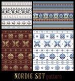 Teste padrão listrado multicolorido decorativo feito malha tradicional nórdico Ilustração Royalty Free