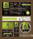 Do menu ajustado saudável do café do restaurante do vegetariano e do vegetariano projeto gráfico ilustração do vetor