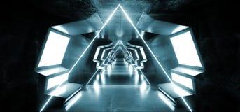 Do metal lustroso moderno futurista virtual de Sci Fi do tri?ngulo do fumo obscuridade estrangeira reflexiva do t?nel do corredor ilustração do vetor