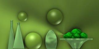 Do metal vida ainda com bolas verdes Imagens de Stock
