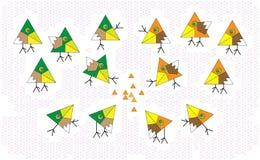 Do mosaico ajustado dos triângulos do sumário pássaros bonitos e setas dos sinais Vetor Desenhos animados multicoloridos Um crian Imagem de Stock Royalty Free