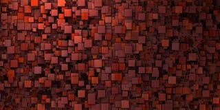 do mosaico 3d da parede vermelho sujo irregular dentro profundamente - Fotografia de Stock