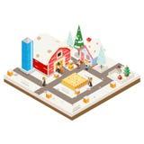 Do Natal rural 3d Lowpoly da estação da construção de casa da exploração agrícola da agricultura da vila do inverno o ícone isomé Imagem de Stock Royalty Free